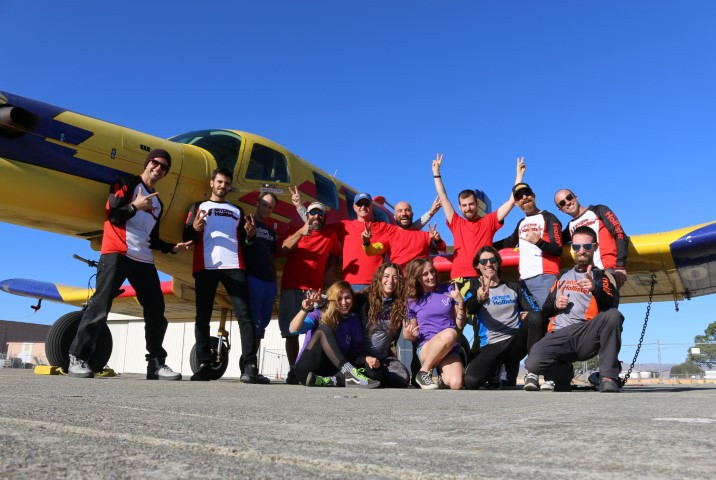 The adrenaline junkies who work and jump at Skydive Hollister. With our pilot and our airplane.