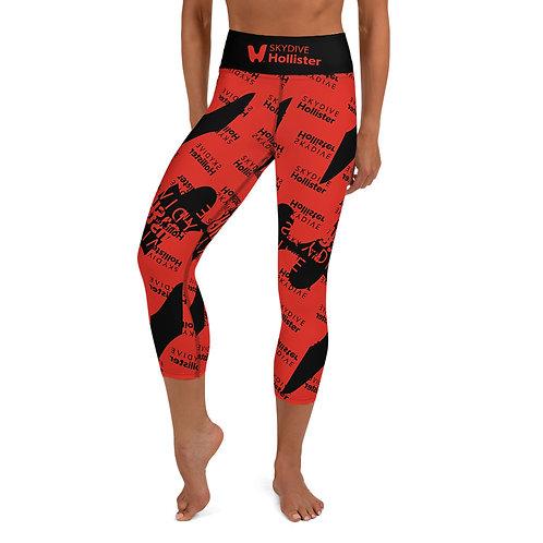 Skydive Hollister Black/Red Yoga Capri Leggings