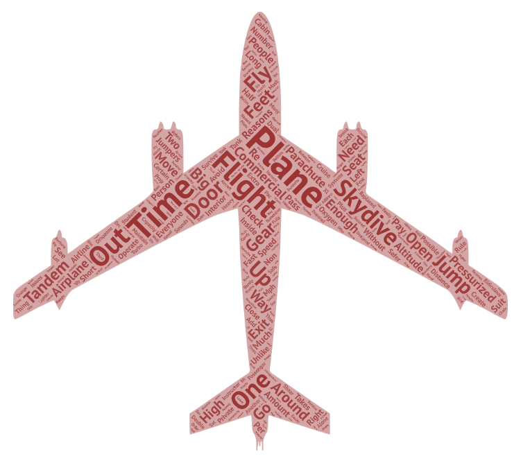 word art in the shape of an airplane containing every word in this blog article