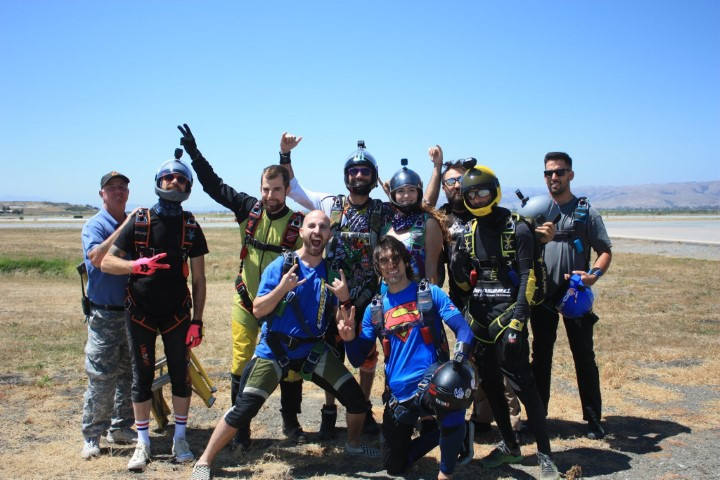 Crazy crew and fun jumpers at our landing area