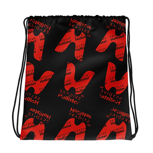 Skydive Hollister Drawstring bag - Black & Red All Over