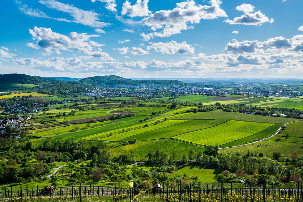 Germany, Panorama view above winnenden city houses surrounded by wide green nature landsca