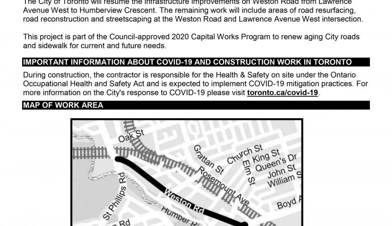 Construction Update! Weston Road Infrastructure Improvements from Lawrence Avenue West to Humberview Crescent