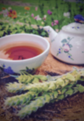 Garden tea setting with organi Mursalski tea from Jewel of the Mountain