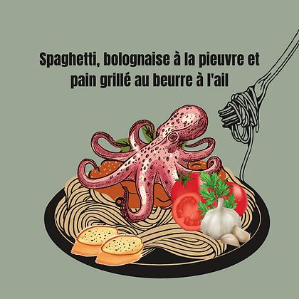 Spaghetti, bolognaise à la pieuvre et pain grillé au beurre à l'ail