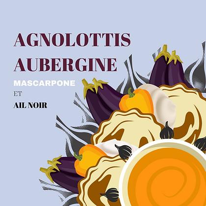 Agnolottis aubergine,  mascarpone et ail noir