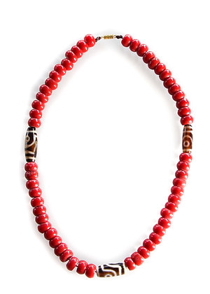 Coral Dzi Necklace