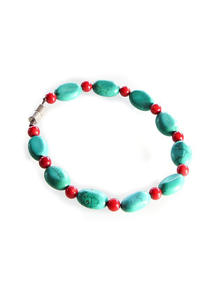 Green Turquoise with red beads Mala