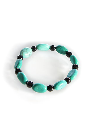 Green Turquoise with Black beads Mala