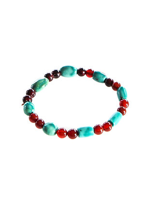 Turquoise, Red Bead Mala