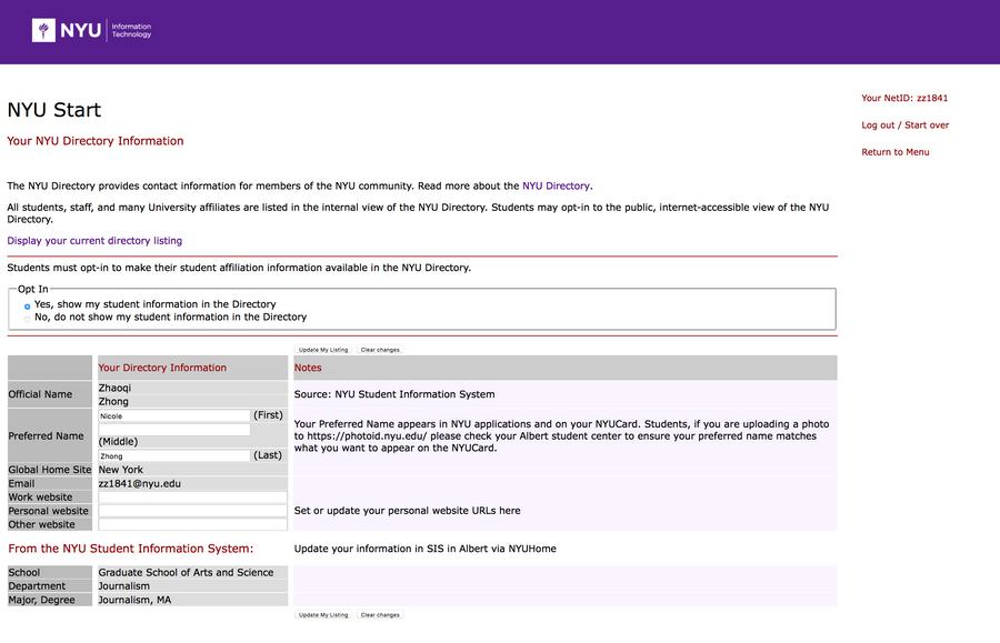 NYU Directory Preference