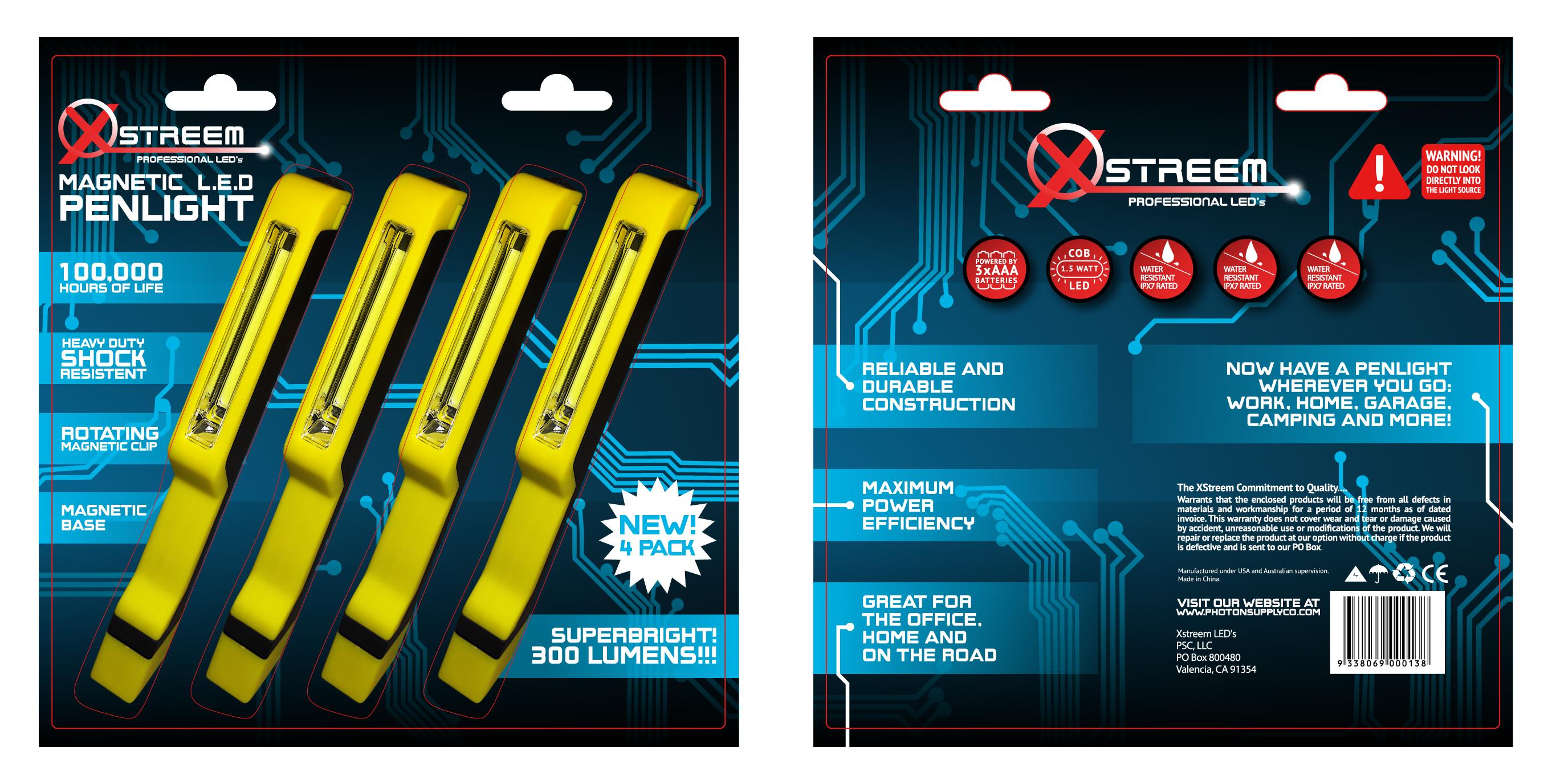 Xtreem Pen Light 4-pack Blister Outline-