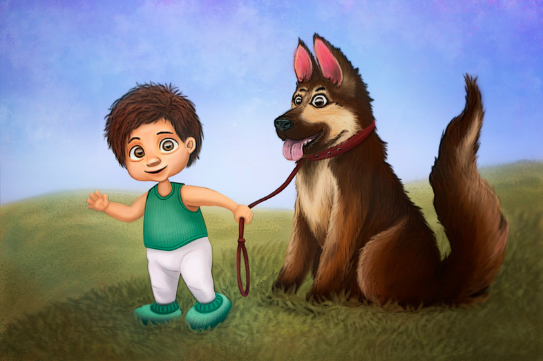 Illustrations for children books. Boy with his Dog