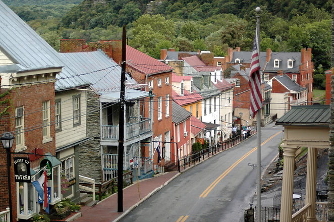 The view from up high of Harper's Ferry,