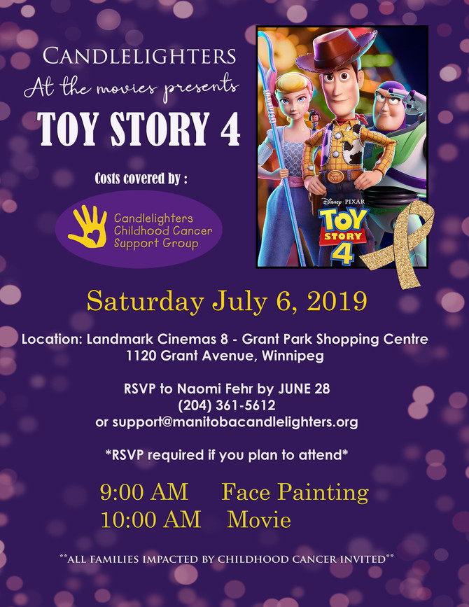 CANDLELIGHTERS AT THE MOVIES PRESENTS TOY STORY 4!!!