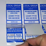 Test and Tag stickers, custom test stickers