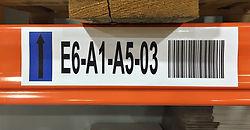 Bar code racking labels, aisle identification labels