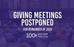 Giving Meetings Postponed for 2020 Calendar Year