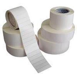 Plain labels for thermal overprinting, plain white stickers with perforations. All sizes available with range of diffferent adhesives.