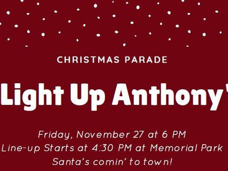 """Christmas Parade """"Light Up Anthony"""" Nov. 27"""