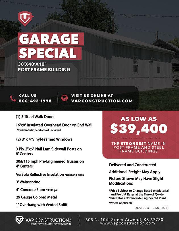 VAP Construction Garage Special Flyer - Post Frame Garage Special Offer Kansas Colorado Wyoming Nebraska