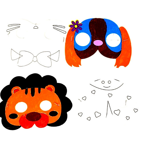 Animal paper face mask  (pk of 10)