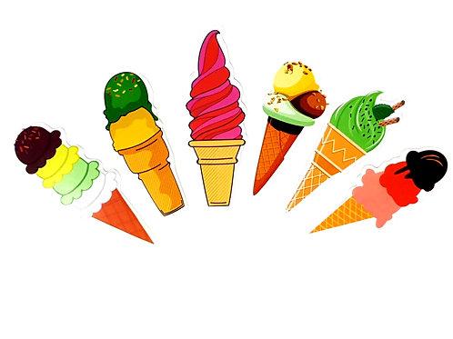 Ice cream bookmarks (pk of 6)