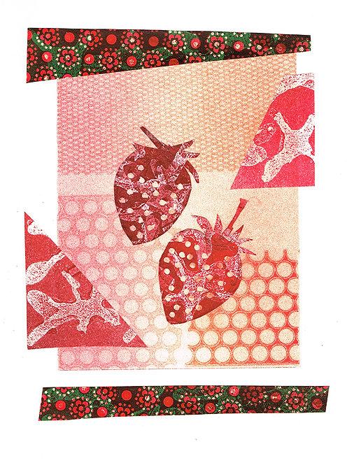 2 Strawberries - Linocut