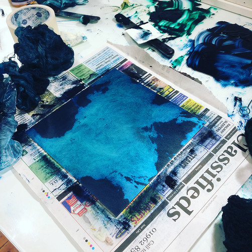 Inked printing plate by Tori McLean