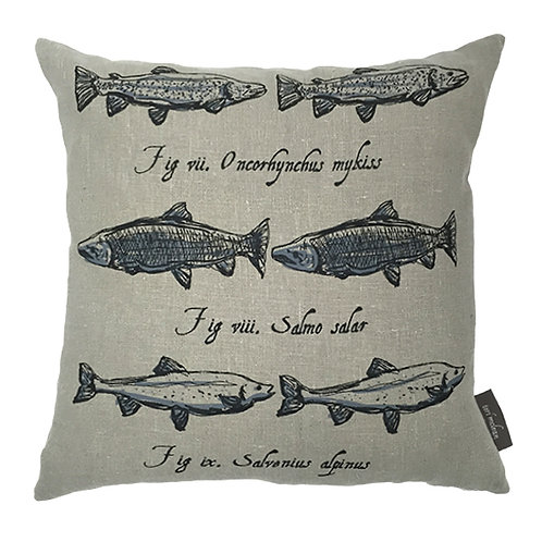 Salmon Country Life Linen Cushion - Grey