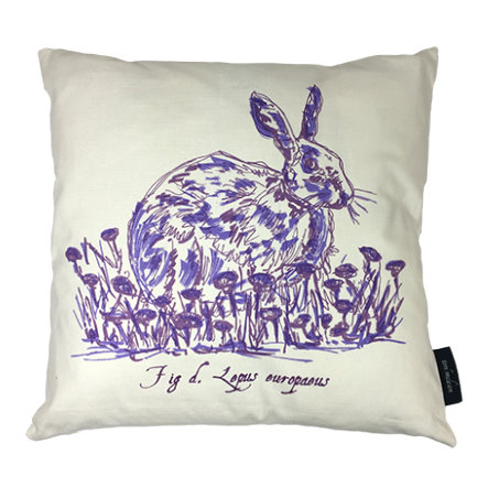 Hare Country Life Linen Union Cushion - Violet