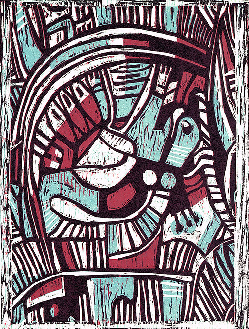 Abstract 'Periwinkle & Fuchsia' - Woodcut