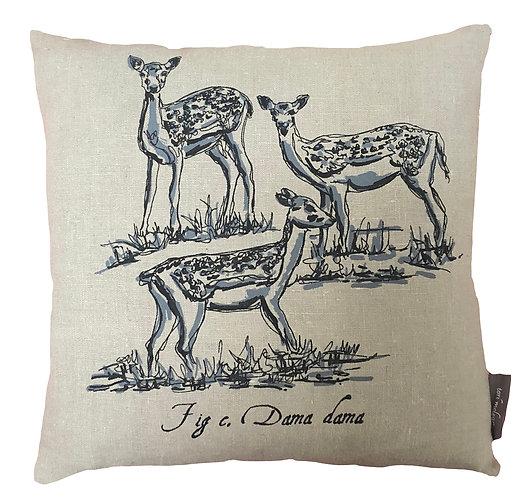 Deer Country Life Linen Cushion - Grey