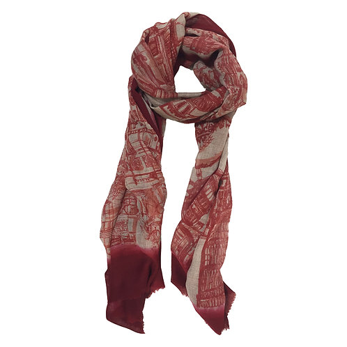 London CityLife Scarf - Crimson Beige Orange/Crimson