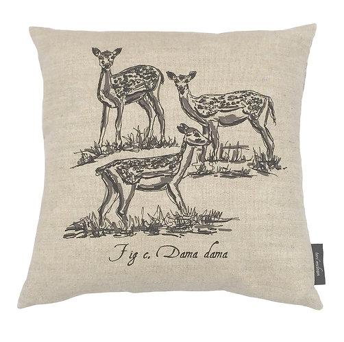 Fallow Deer Country Life Linen Cushion - Beige