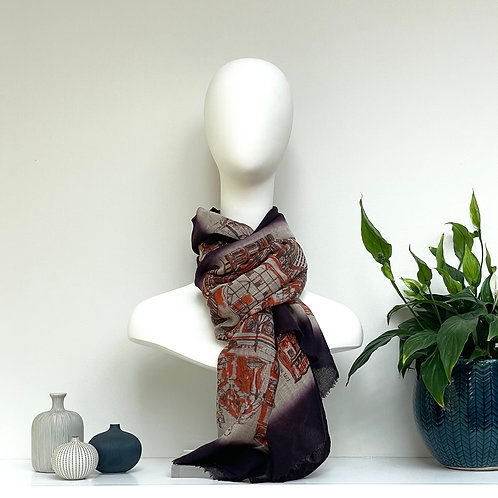 London CityLife Scarf - Aubergine Beige Brown Orange