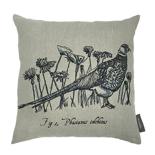 Pheasant Country Life Linen Cushion - Grey