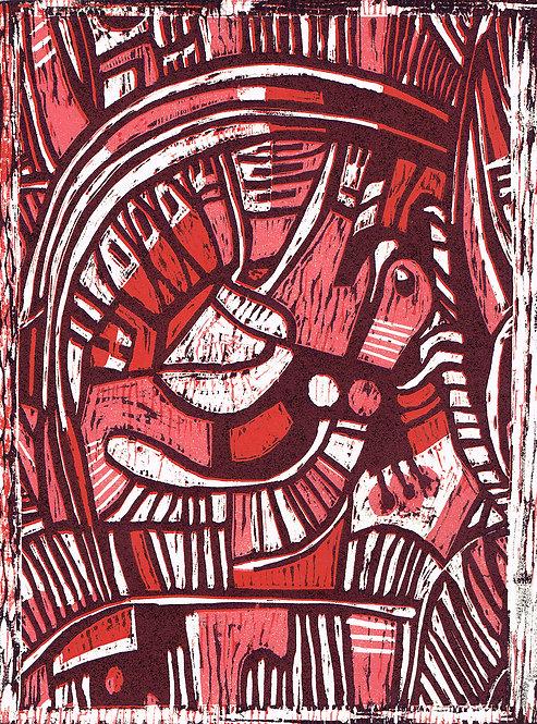 Abstract 'Poppy & Peony' - Woodcut