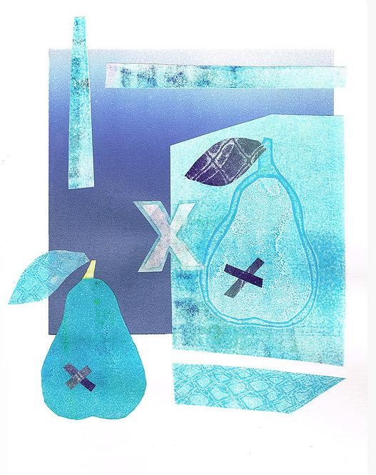 2 Kissed Pears - Linocut