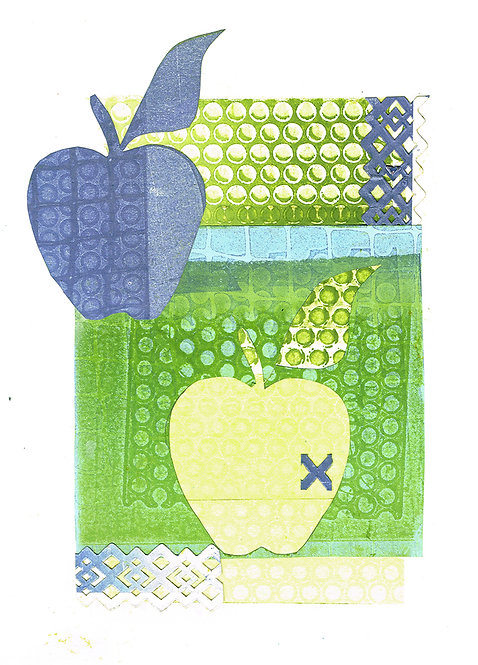 Kissed Apple - Linocut