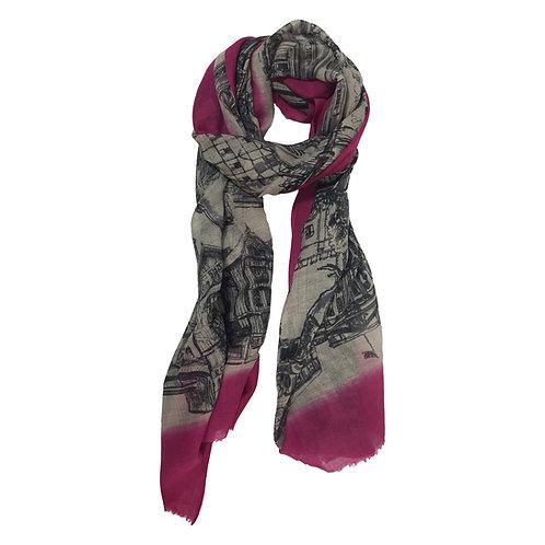 London CityLife Scarf - Pink Beige Black