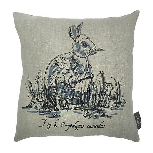 Rabbit Country Life Linen Cushion - Grey