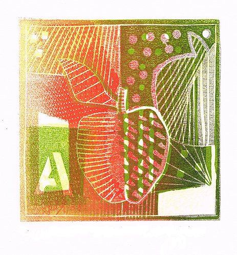 A if for Apple 'Green' - Linocut