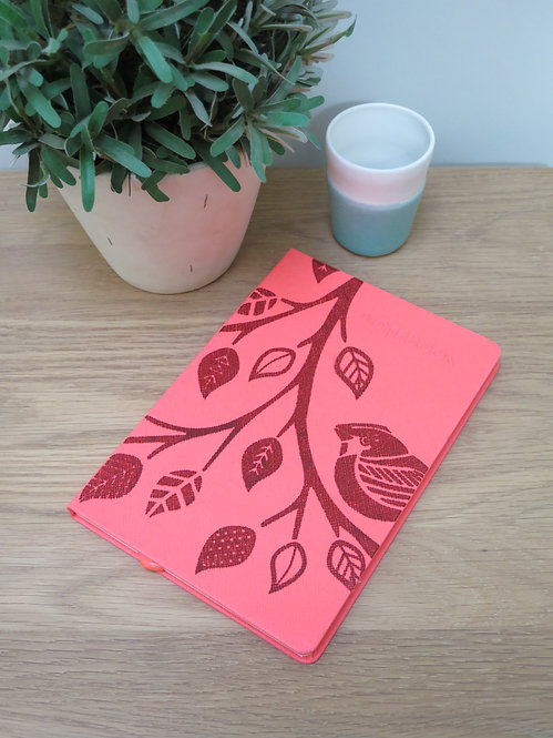A5 Bird on Branch Hand-printed Notebook - Pink