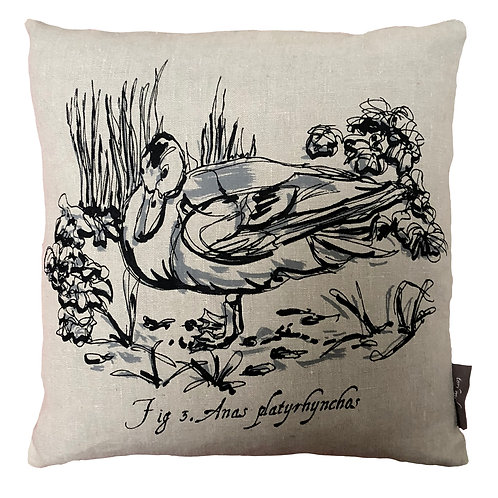 Duck Country Life Linen Cushion - Grey