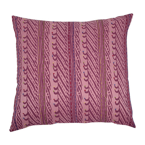Hand Embroidered Silk Cushion - Pink