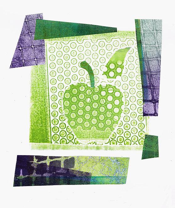 Green Apple Spots & Squares - Linocut
