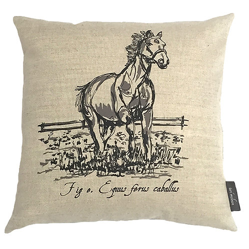 Horse Country Life Linen Cushion - Beige