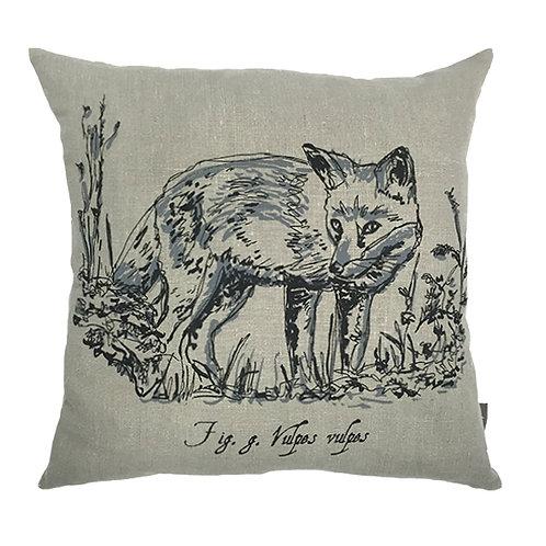 Fox Country Life Linen Cushion - Grey