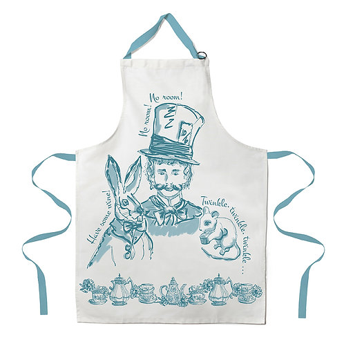 Hand Printed Mad Hatter Apron - Teal
